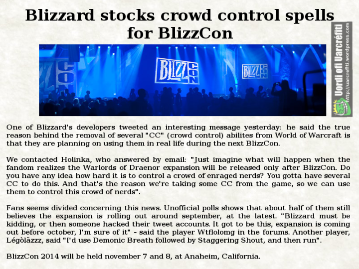Blizzard stocks CC for BlizzCon 2014